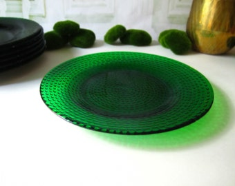 Vintage Emerald Green Dinner Plates Set of 7 Pressed Glass Dishes