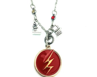 "Barry Allen The Flash Inspired Rhinestone Charm 23"" Chain Necklace Silver Tone"