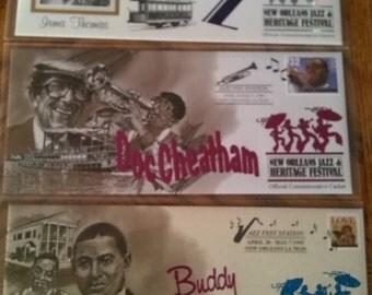 3 commemorative cachet New Orleans jazz & Heritage Festival.