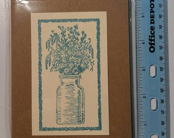 Wild flowers in jug stamped note cards. Pack of five.