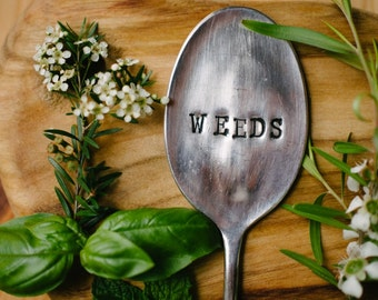 """Upcycled vintage silver plated spoon garden marker - EPNS """"Weeds"""""""