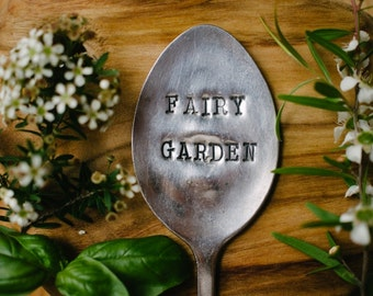 """Upcycled vintage silver plated spoon garden marker - EPNS """"Fairy garden"""""""