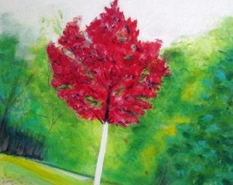 Red Tree; Original acrylic painting on canvas.