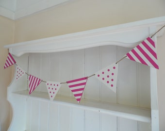 Spots and Stripes Banner-Wooden Bunting-Hand Painted-Home Decor-Gift for Girls-Nursery Decor-Beach Themed Wedding Decor-Beach Hut Decor-
