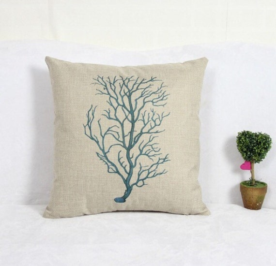 Sea Coral Throw Pillows : Beachy Sea Coral Decorative Throw Pillow by JayeBeDesigns on Etsy