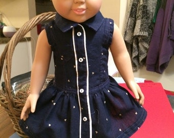 Navy dress- white buttons