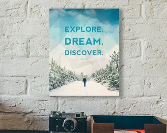 "Explore - Dream - Discover 8"" x 10"" wood mounted fine art photo"