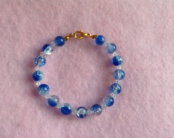 Gold Blue & White Glass Bead Bracelet.