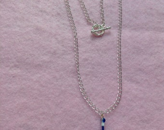 Sterling Silver Chain Blue Glass Bead Necklace.