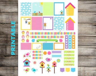 PRINTABLE for Erin Condren - Bird House Theme Weekly Planner Stickers for EC Life Planner Vertical Layout. Summer