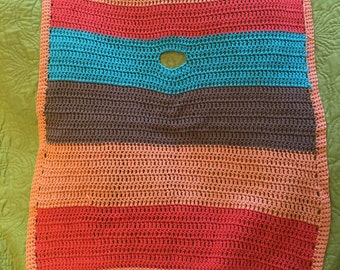 Crocheted blanket, teal, orange, red and brown striped blanket, light wrap, cotton stroller blanket.