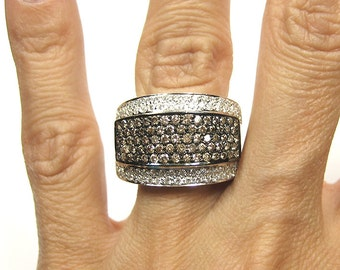 18k solid white gold diamond ring