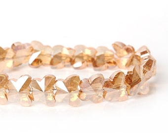 15 mm x 12 mm Chinese Crystal Faceted Butterfly, Champagne (1590)