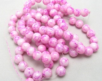 1 Strand 8mm Mottled Glass Round Beads Pink (B43c)