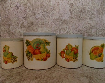 Set of 4 Vintage Metal Kitchen Canisters with Fruit Print