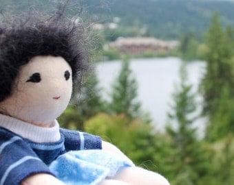 "Boy doll, Soft Doll, 8""  Waldorf Doll, black hair, natural materials, soccer doll"