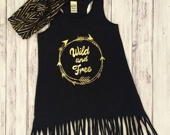 Fringe dress, toddler fringe, wild and free, young wild & free, fringe, toddler dress, baby dress, girls dress, gold foil