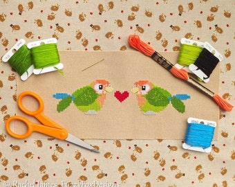 Peach Faced Love Bird Lovebird Pair with Heart Easy Beginners Cross Stitch Pattern PDF