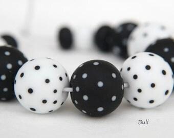 BuliBeads - Handmade Lampwork Glass Beads set - Black and White Polka Dot Beads - FREE SHIPPING