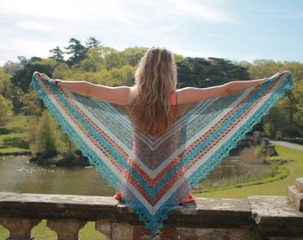 Minda Shawl Pattern - Digital Crochet Pattern Download with photo tutorials & video tutorial link.
