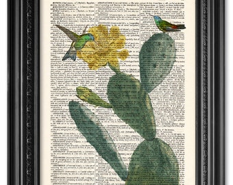 Cactus and hummingbirds print, Dictionary art print, Kitchen decor, Cactus art print, upcycled dictionary page, Gift poster [ART 110]