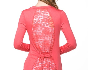 Coral Lace-Back Open Cardigan