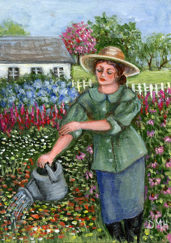 Watering the Garden - a 5x7 original by Dianne Masters Hare