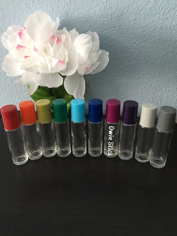 Essential Oil Vinyl Labels with 10 mL Glass Roller Bottle - Custom Vinyl Labels applied on 10 mL Glass Roller Bottles - Colored Caps