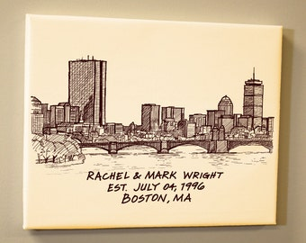 Boston Skyline Personalized Wedding Anniversary Gift Guest Book Sketch Hand Lettered Gallery Wrapped Canvas Print
