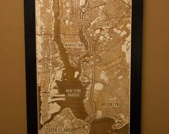 Customized NYC Marathon Laser Engraved Map - New York City Marathon Route