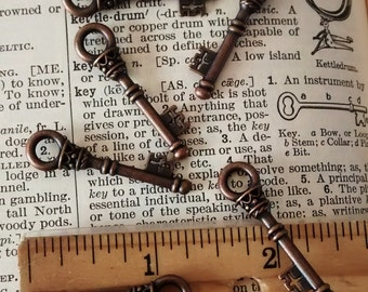 6 piece copper toned key charms