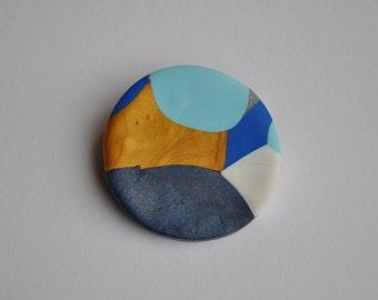 Polymer Clay Brooch - Blue/Gold/Light Blue Medium