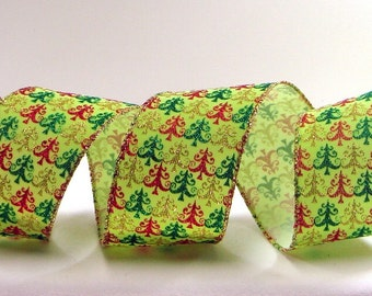 SPECIAL  ~ ~  Wired Christmas Ribbon ~  2-1/2 inch Lime Green Christmas Tree Ribbon ~ 10 Yard Roll ~ SPECIAL