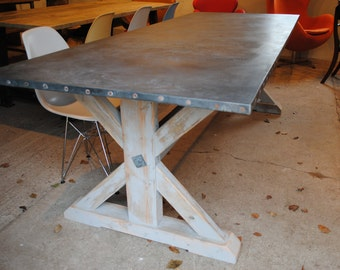 Zinc Top Dining Table hand made with Reclaimed Materials. Industrial Style