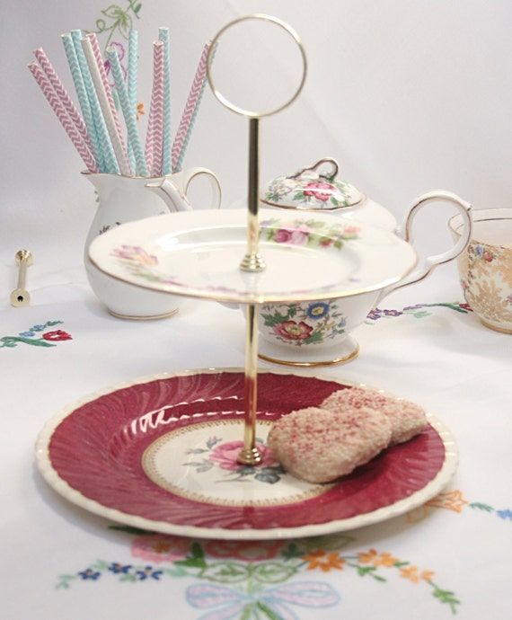 Pretty rose pink 2 tier china cake stand by for Pretty cake stands