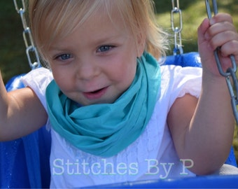 Baby Toddler Adult Infinity Scarf Girl Gift for Kids Under 30 Turquoise Teal Party Cotton Fall Fashion Accessories Outdoor Mommy and Me