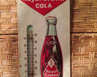 Royal crown cola soda pop metal thermometer advertising sign