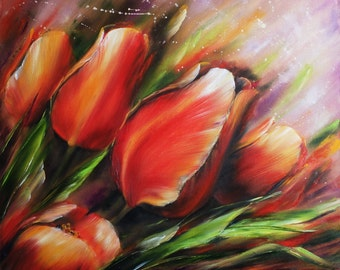 Red tulips Oil painting flowers Oil Painting Tulips
