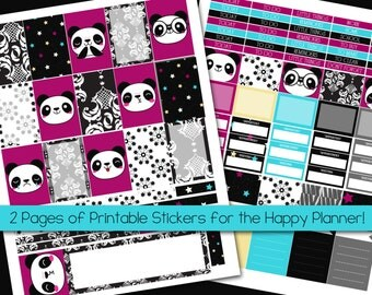 Panda Plans - Printable Sticker Kit - MAMBI Happy Planner - PDF and JPEG - Instant Download - 2 Pages - Black and Pink - Damask - Kawaii