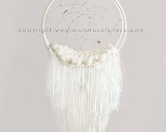 Digital Dreamcatcher Background for Newborn Photography - off white, with yarn and plain grey background