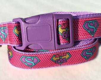 Laineys Super Girl Dog Collar and Leash Set