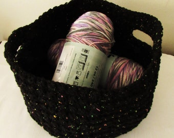 large crochet basket yarn basket black basket basket with handle basket crochet