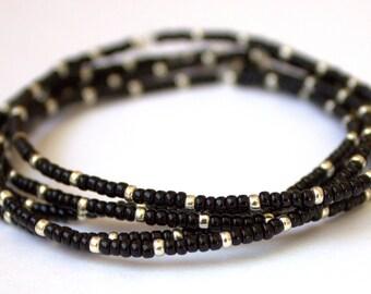Black and silver seed bead stretch bracelet, set of 5, boho