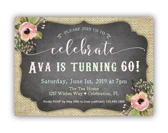60th Birthday Invitations, 50th Birthday Invitation, 40th Birthday Invitation, Birthday Invitations for Women, Burlap and chalkboard Invites