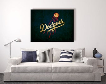 Los Angeles Dodgers Vintage Style Canvas Print Baseball Decor Wall