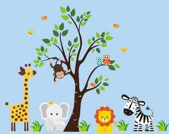 "Zoo Animal Wall Decals - Jungle Wall Decals - Safari Wall Decals - Elephant Lion Zebra Tree Stickers - Nursery Baby Room Decor - 83"" x 97"""