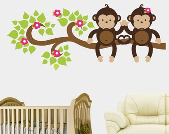 "Large Monkey Decals - Monkey Themed Nursery Decals - Two Monkeys on Branch Decal - Monkey Wall Stickers - Nursery Wall Decals - 23"" x 54"""