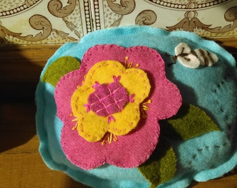 Applique Felted Wool Pin Cushion