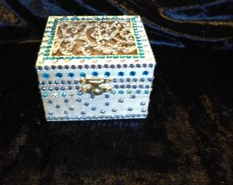 Diamante wooden trinket box