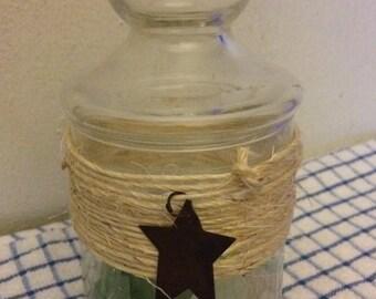 Soy Wax Candle -  Apothecary Jar - Beach Decor - Vintage Sea Glass